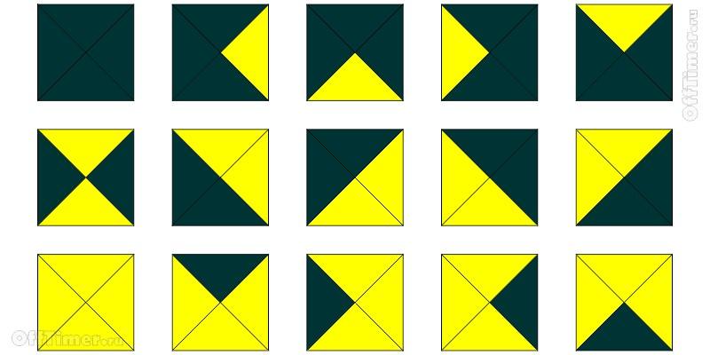 головоломка с квадратами на внимательность