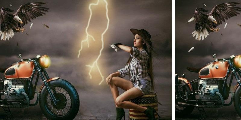 головоломка найди 10 отличий: Девушка, мотоцикл и орел