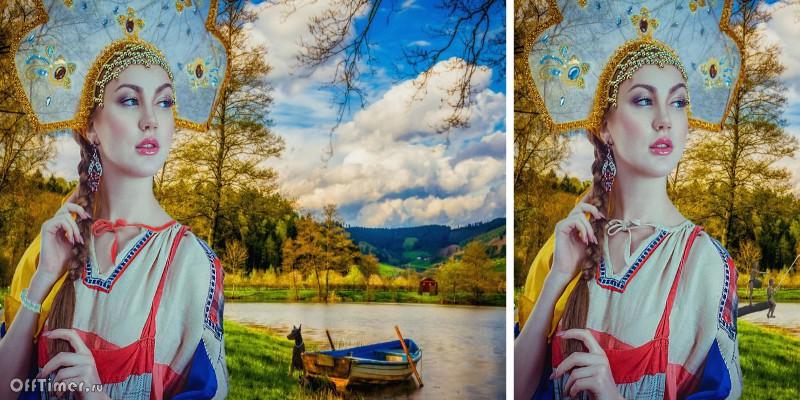 головоломка найди 10 отличий: Русская красавица у озера