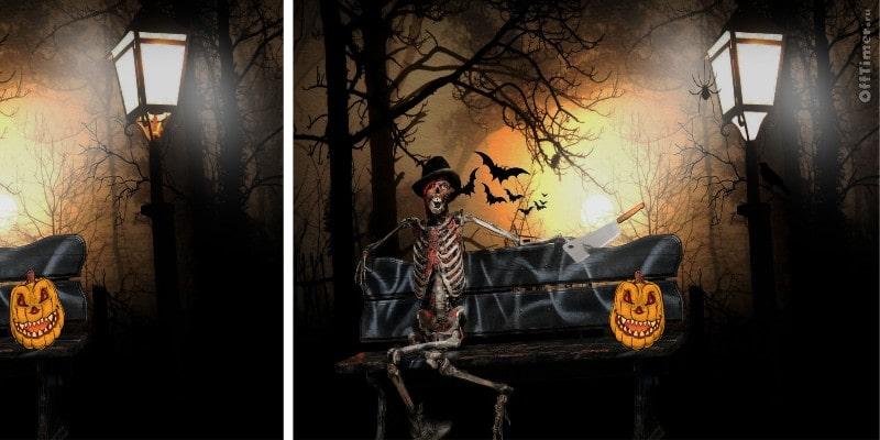 игра головоломка найди отличия на картинках - Хэллоуин